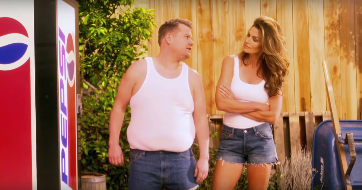 Cindy Crawford And James Corden Parody The Supermodels -4623