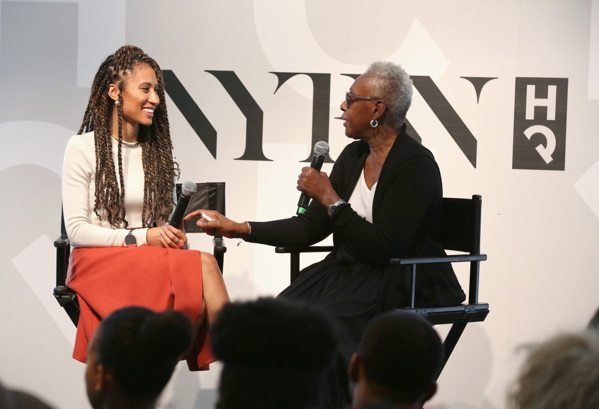 Elaine Welteroth (left) with Bethann Hardison (right) at the NYFW HQ last season. Photo: Robin Marchant/Getty Images