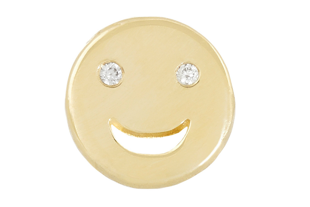 Alison Lou Happy 14-Karat Gold Diamond Earring, $300, available at Net-a-Porter.