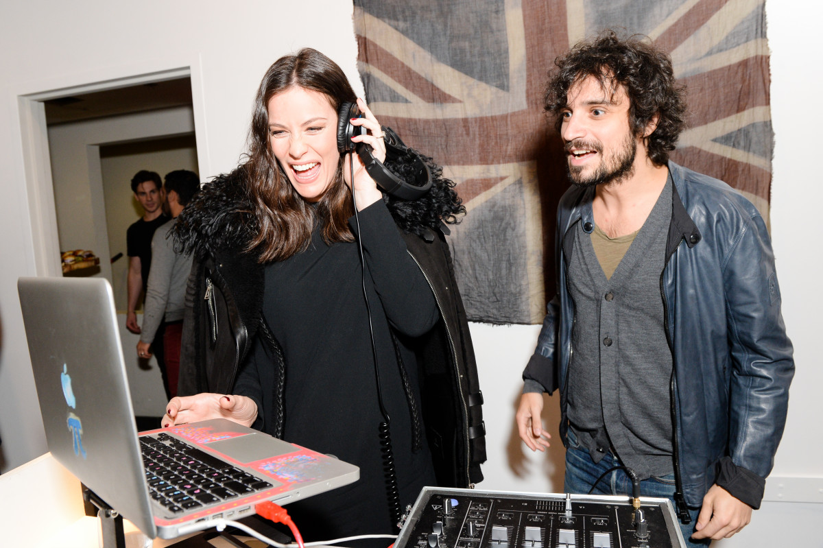 Tyler hits the decks with part-time DJ Fab Moretti. Photo: Belstaff