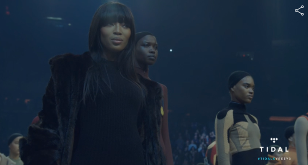 Naomi Campbell at the Yeezy Season 3 show. Screengrab: Tidal