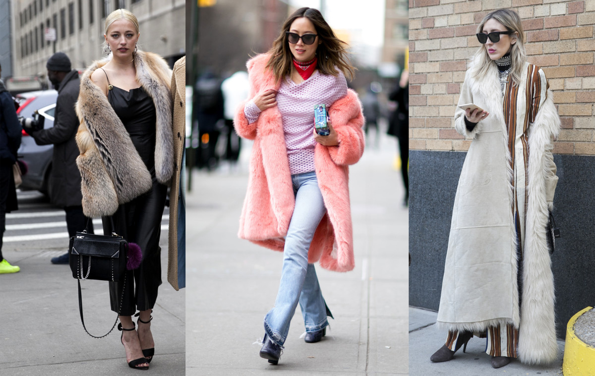 Show-goers wear their coats down off their shoulders at New York Fashion Week. Photos: Emily Malan/Fashionista (left, right) and Imaxtree (center)