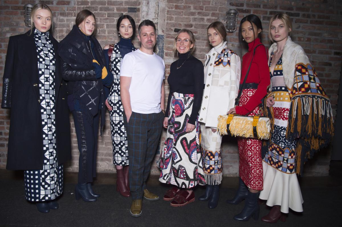 The Teatum Jones designers with their models. Photo: BFA/Woolmark