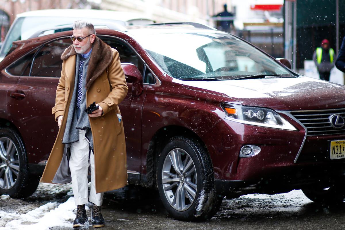 Nick Wooster exits a Lexus vehicle outside Milk Studios in February. Photo: Ryan Kobane/BFA
