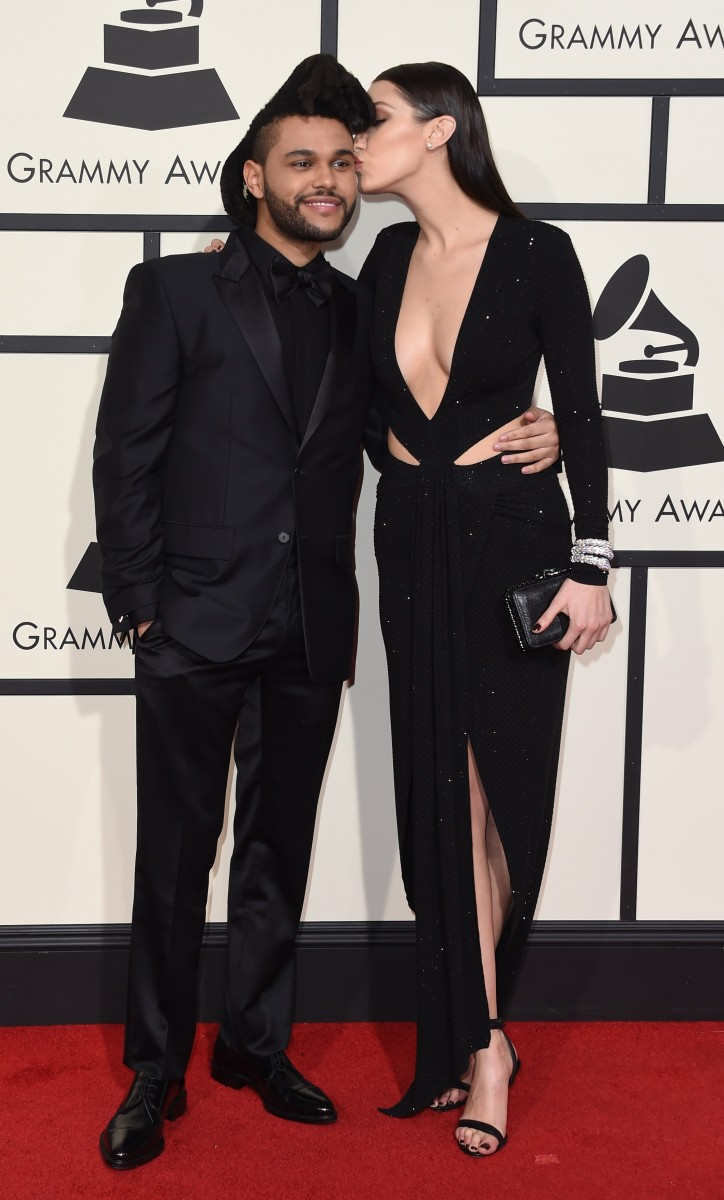The Weeknd and Bella Hadid on the red carpet at the 2016 Grammy Awards. Photo: Valerie Macon/AFP/Getty Images