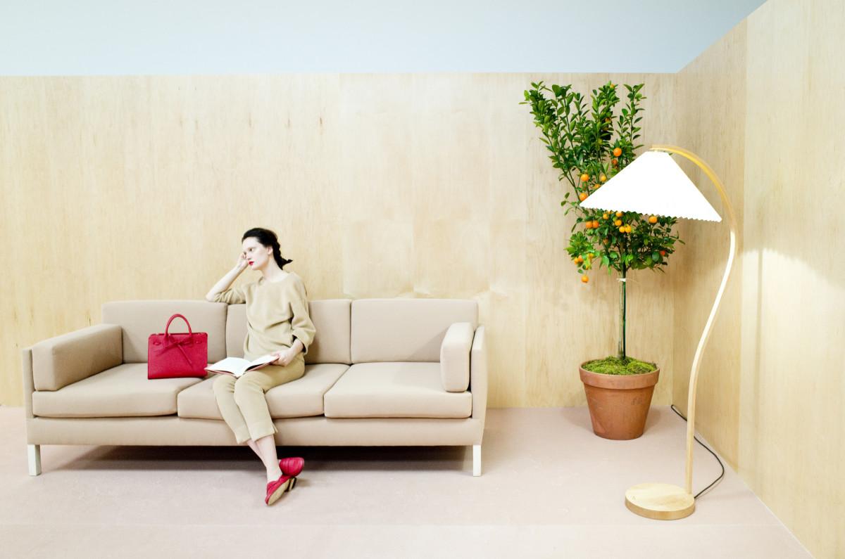 A model sits alongside Mansur Gavriel's new Sun bag in a pair of matching slipper heels. Photo: Mansur Gavriel