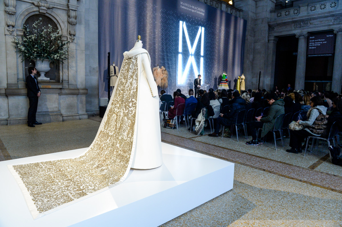 "Chanel wedding ensemble at Monday's press preview for ""Manus x Machina: Fashion in an Age of Technology."" Photo: Courtesy of The Metropolitan Museum of Art/BFA.com"