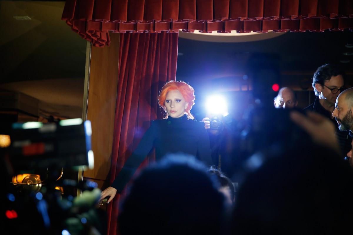 Lady Gaga arriving at Brandon Maxwell's fall 2016 presentation. Photo: JP Yim/Getty Images