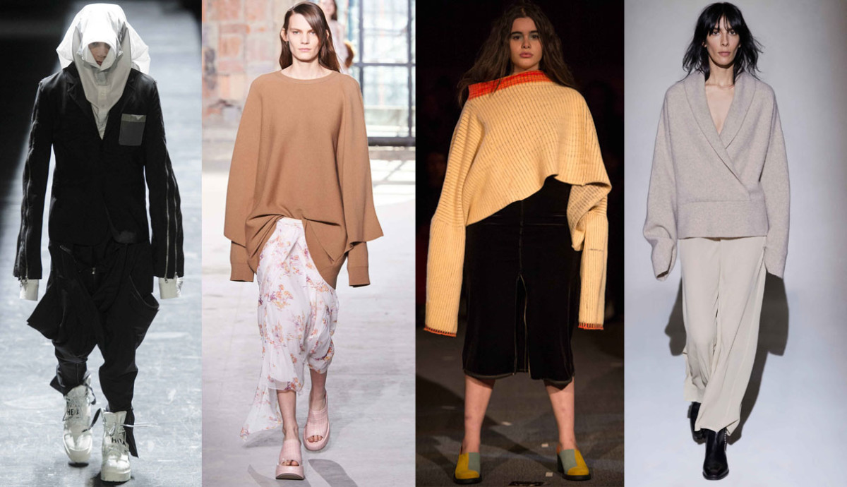 From left to right: Hood by Air. Photo: Imaxtree; Sies Marjan. Photo: Imaxtree; Eckhaus Latta. Photo: Imaxtree; The Row. Photo: The Row.