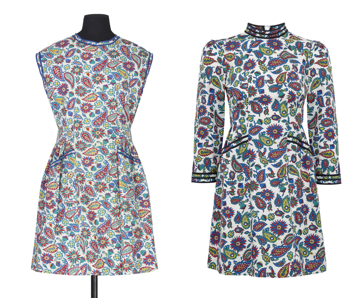 A 1950s Marks and Spencer archive dress (left) and the Eliza dress it inspired from Alexa Chung's collection (right). Photos: Marks & Spencer