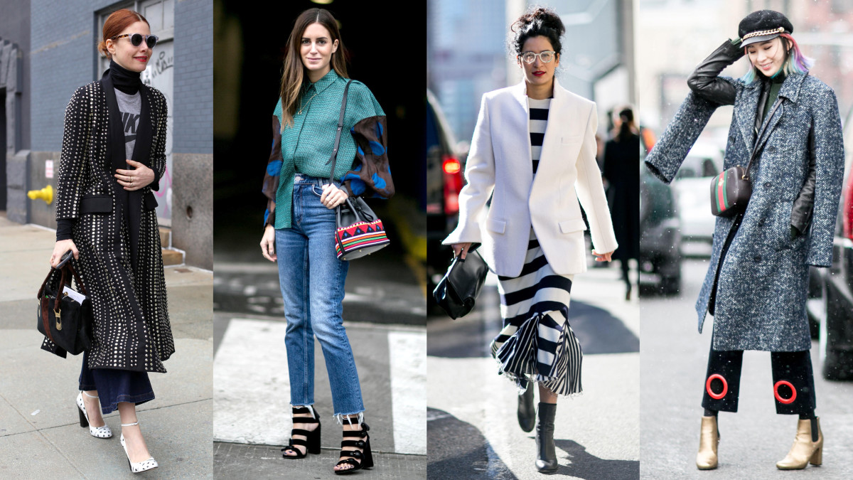 Four of our favorite looks from New York Fashion Week. Photos from left to right: Angela Datre/Fashionista, Emily Malan/Fashionista, Imaxtree, Imaxtree