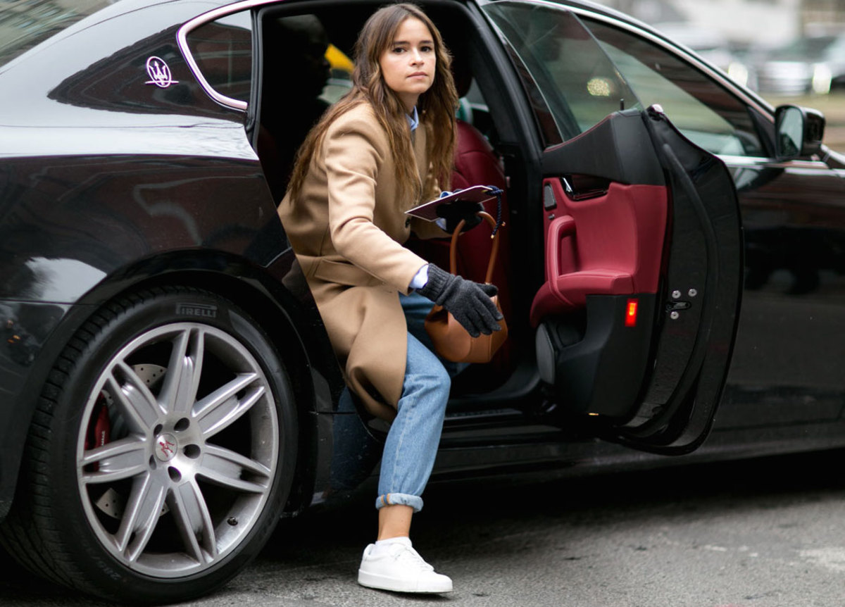 The flashiest part of Miroslava Duma's look is the Maserati she arrived in. Photo: Imaxtree