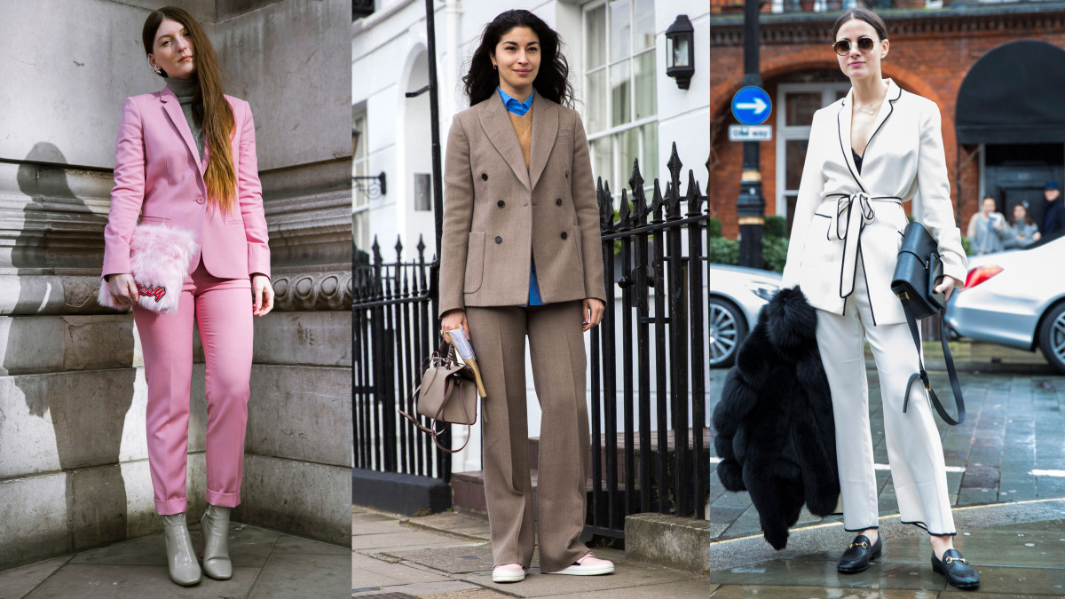 Suits on the street at London Fashion Week. Photos: Imaxtree