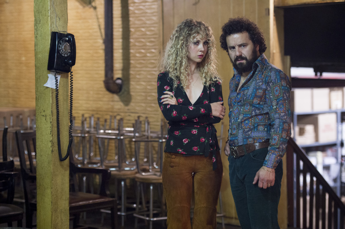 "Juno Temple as Jamie Vine and Max Casella as Julius ""Julie"" Silver in""Vinyl."" Photo: Macall B. Polay/HBO."