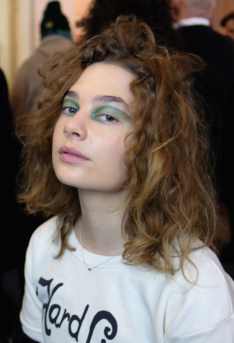 The beauty look at Eckhaus Latta. Photo: Andrew Toth/Getty Images