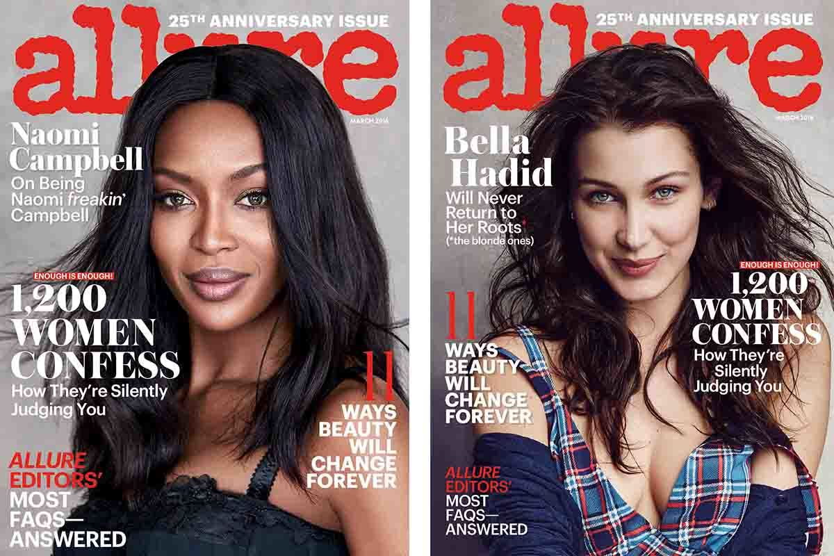 The old guard and the new, on Allure's March 2016 covers. (Photos: Allure/Patrick Demarchelier)
