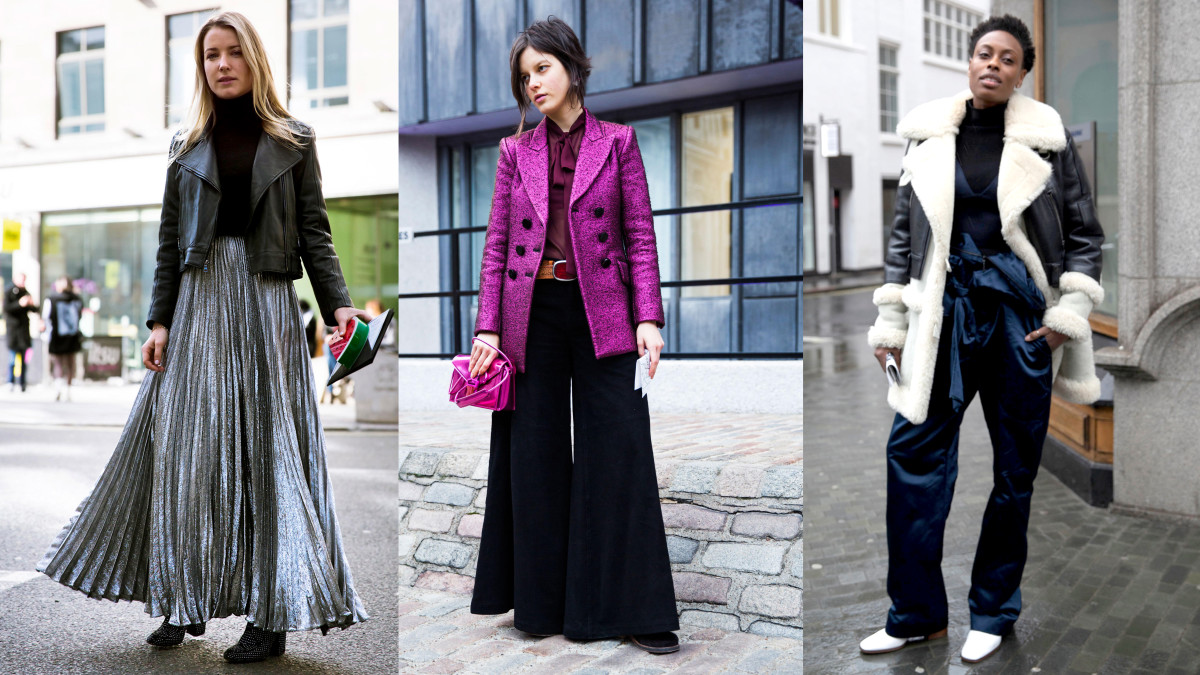 On the street at London Fashion Week. Photos: Imaxtree (2), Emily Malan/Fashionista