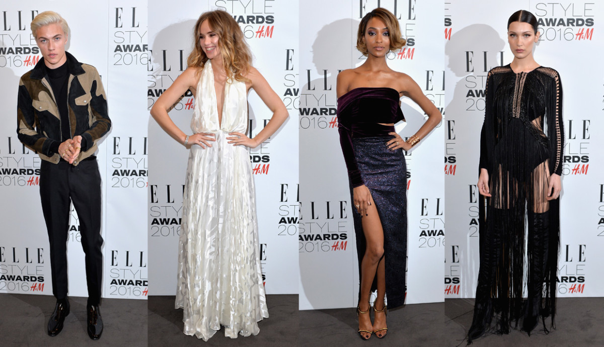 From left to right: Lucky Blue Smith, Suki Waterhouse, Jourdan Dunn and Bella Hadid. Photos: Anthony Harvey/Getty Images