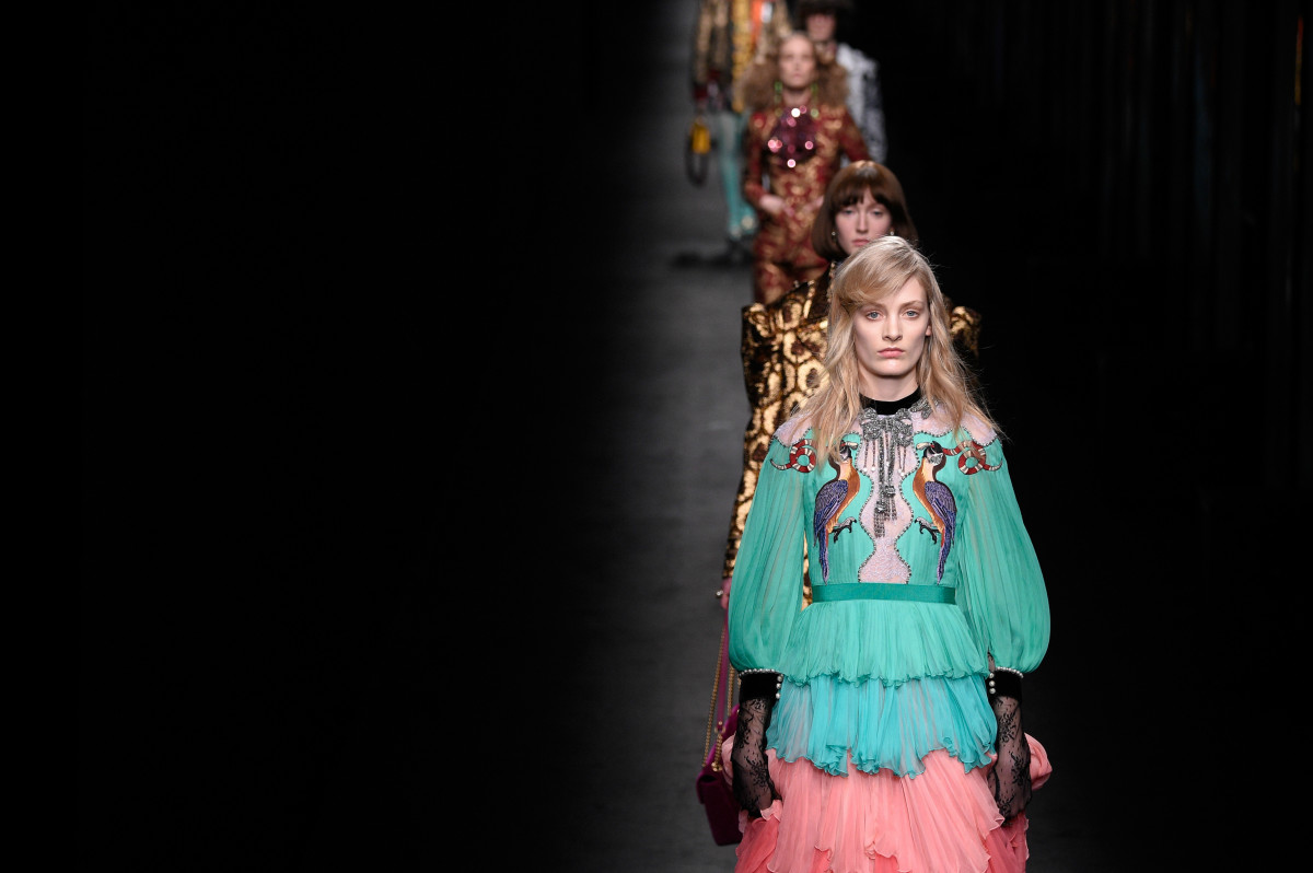 A look from Gucci's fall 2016 runway show in Milan on Wednesday. Photo: Pietro D'aprano/Getty Images