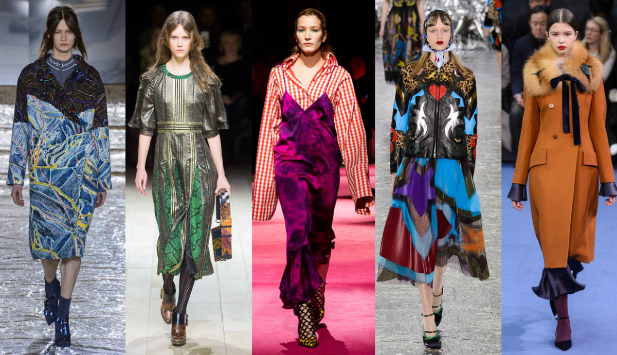 From left to right: Peter Pilotto, Burberry, Marques'Almeida, Mary Katrantzou, Roksanda. Photos: Imaxtree