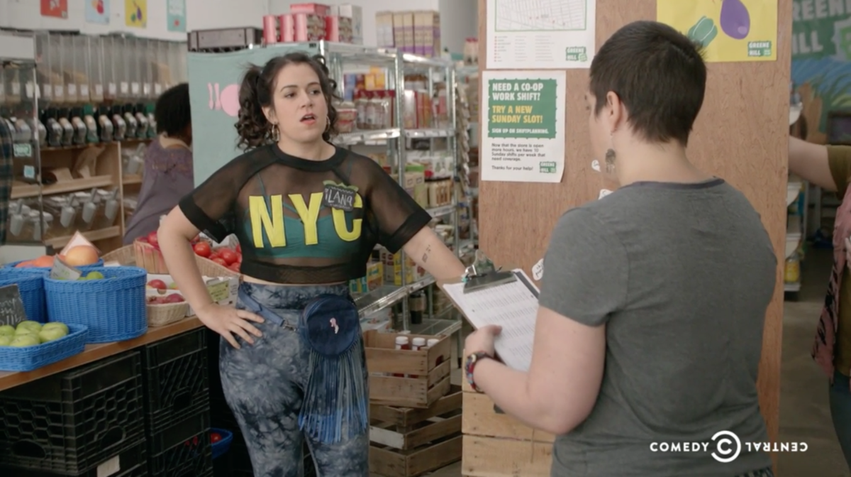Abbi as Ilana at the Greene Hill Food Co-Op. Screengrab: Comedy Central