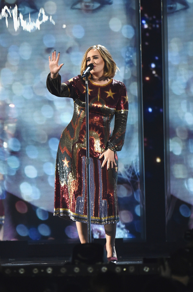 """Adele in Valentino performing """"When We Were Young"""" at the 2016 Brit Awards on Wednesday in London. Photo: Ian Gavan/Getty Images"""