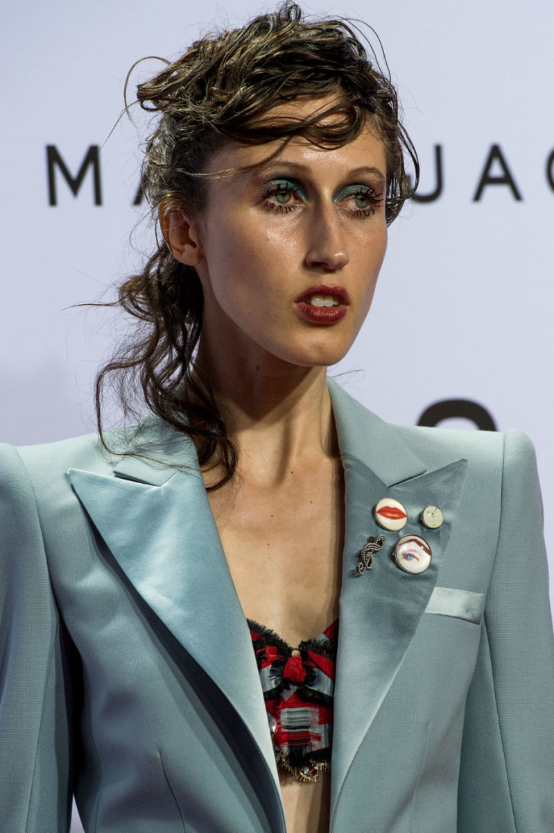 The beauty look on Marc Jacobs' spring 2016 runway was one step beyond dewy. (Photo: Imaxtree)