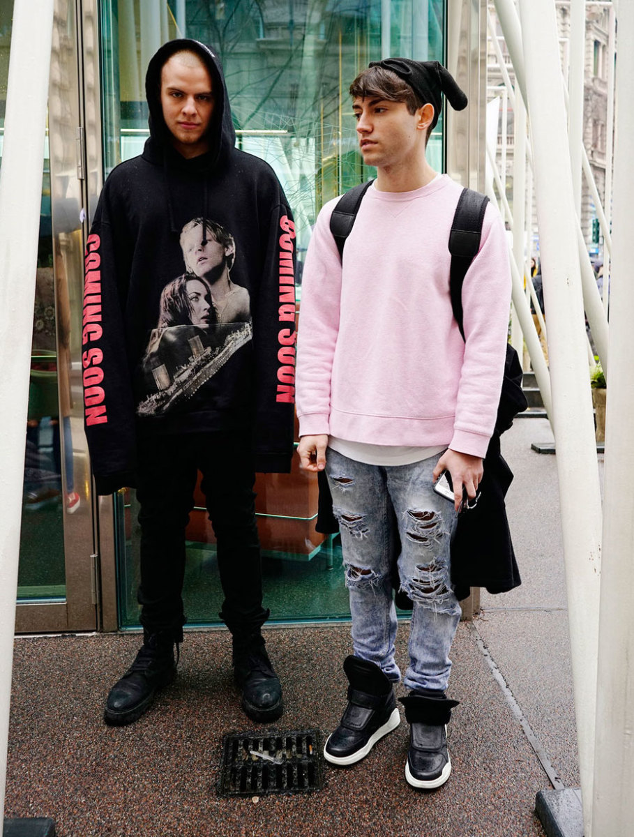 Some cool dudes over the weekend at Milan Fashion Week. Photo: Imaxtree