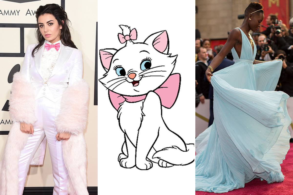 "Charli XCX channels Marie from the ""Aristocats"" and Lupita Nyong'o is Cinderella in 2014. Photos: Jason Merritt, Christopher Polk/Getty Images"