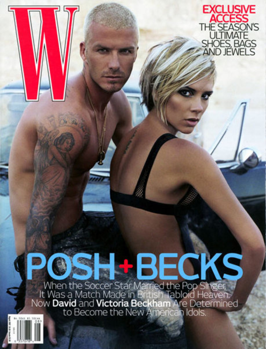 David and Victoria Beckham on the cover of 'W' in 2007, styled by Camilla Nickerson. Photo: Steven Klein/W Magazine