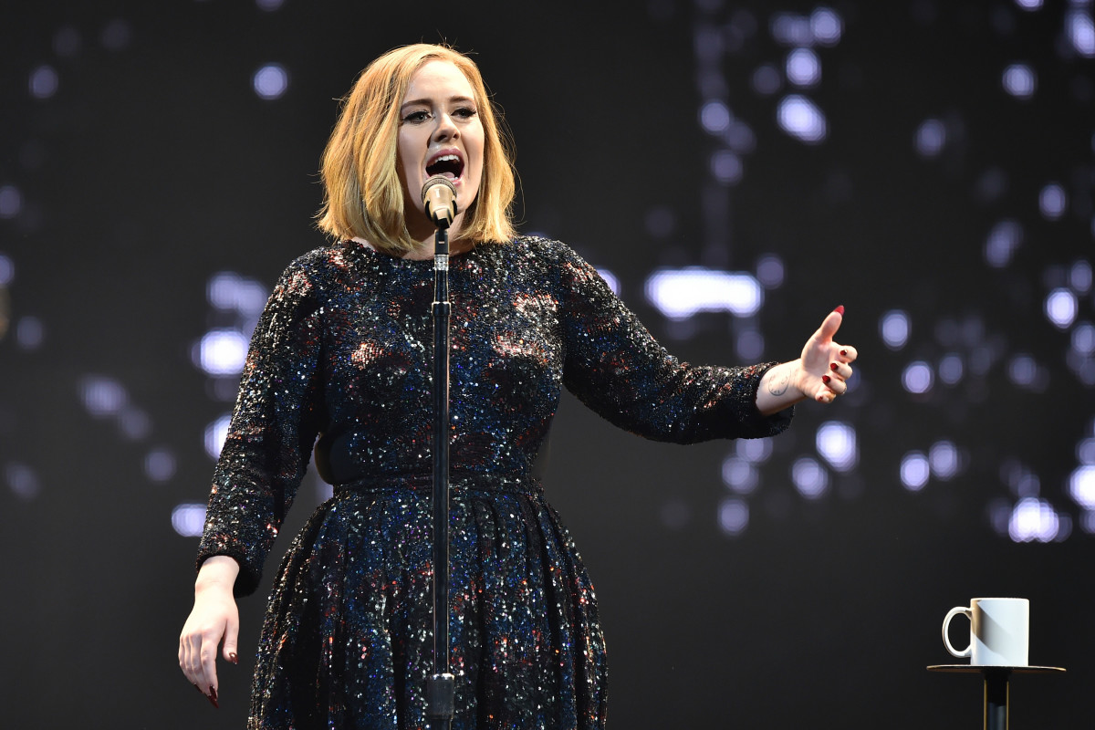Adele performs in Burberry on Monday in Belfast, Northern Ireland. Photo: Gareth Cattermole/Getty Images