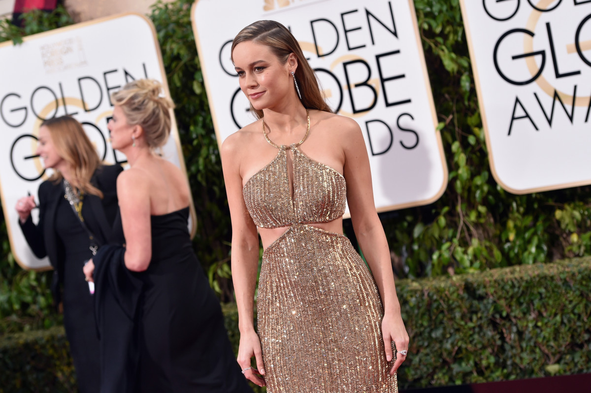 Brie Larson in custom Calvin Klein Collection at the 2016 Golden Globes. Photo: John Shearer/Getty Images