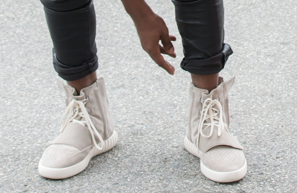 Yeezus himself in his Yeezys. Photo: Valerie Macon/Getty Images