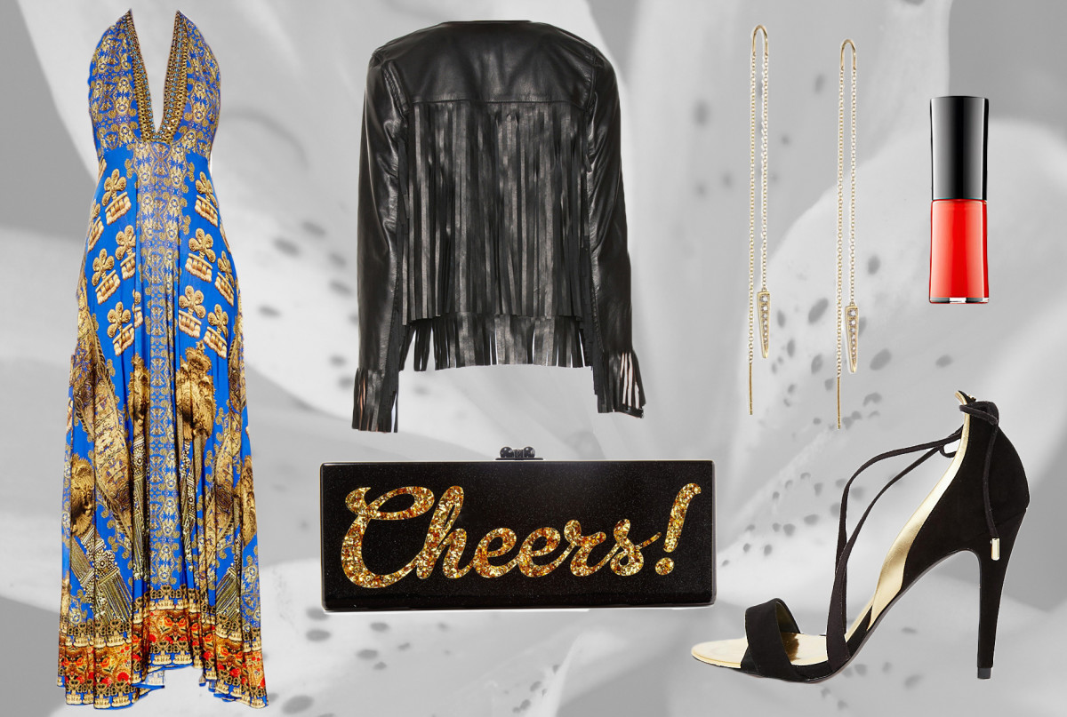 1. Camilla Multiwear Dress 2. The Perfext Fringe Leather Jacket 3. Edie Parker Box Clutch4. EF Collection Dagger Drop Earrings 5. Ted Baker Strappy Heeled Sandals 6. Giorgio Armani Nail Lacquer in Giò