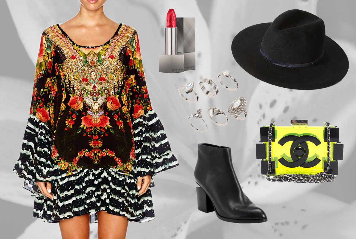 1. Camilla A-line Dress 2. Alexander Wang Leather Booties 3. Chanel Brick Clutch 4. River Island Ring Pack 5. Rag & Bone Wide Brim Fedora 6. Burberry Lip Velvet in Military Red