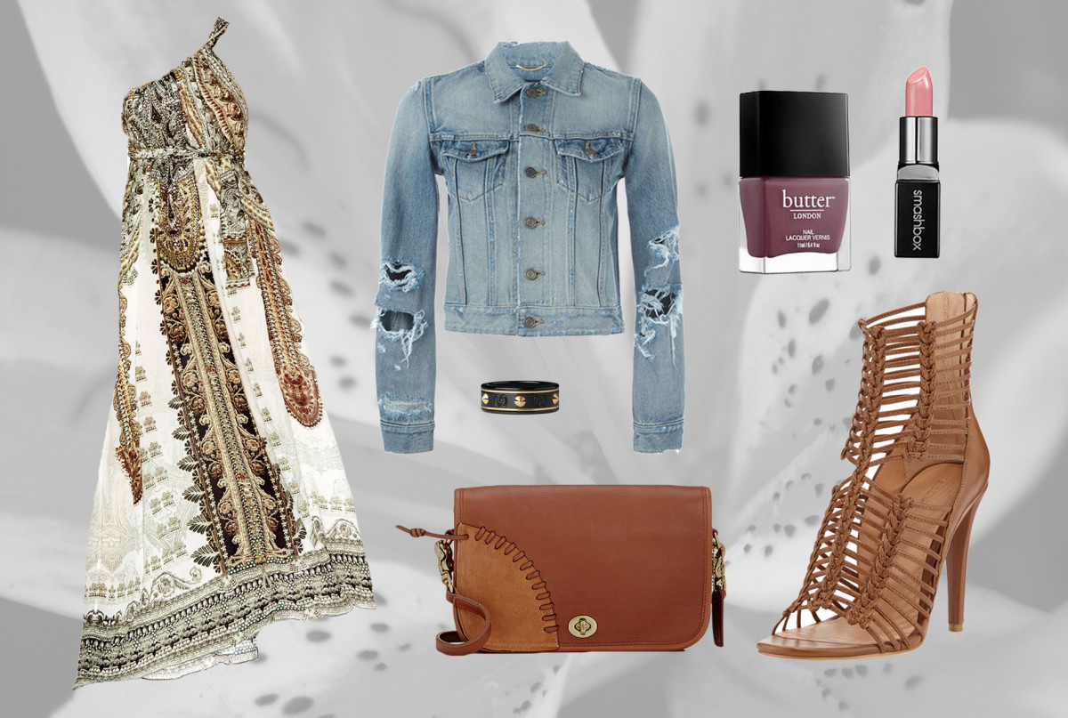 1. Camilla Drawstring Dress 2. Sigerson Morrison Strappy Sandals 3.Saint Laurent Distressed Denim Jacket 4. Coach Vintage 'Dinky' Bag 5.Gucci Studded Ring 6. Smashbox Be Legendary Cream Lipstick in Pretty Social 7. Butter London Nail Lacquer in Toff