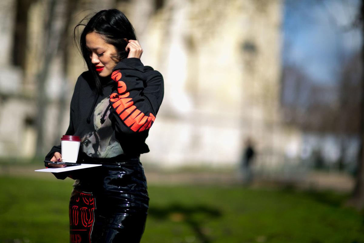 Tiffany Hsu in Vetements at Paris Fashion Week. Photo: Imaxtree