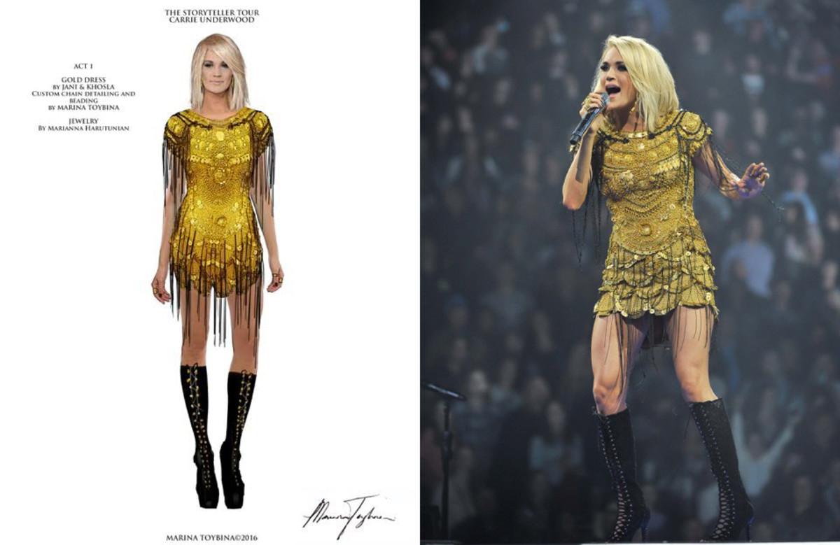 Toybina's sketch of Underwood's designer dress redesign and Underwood onstage. Photos: Courtesy Marina Toybina