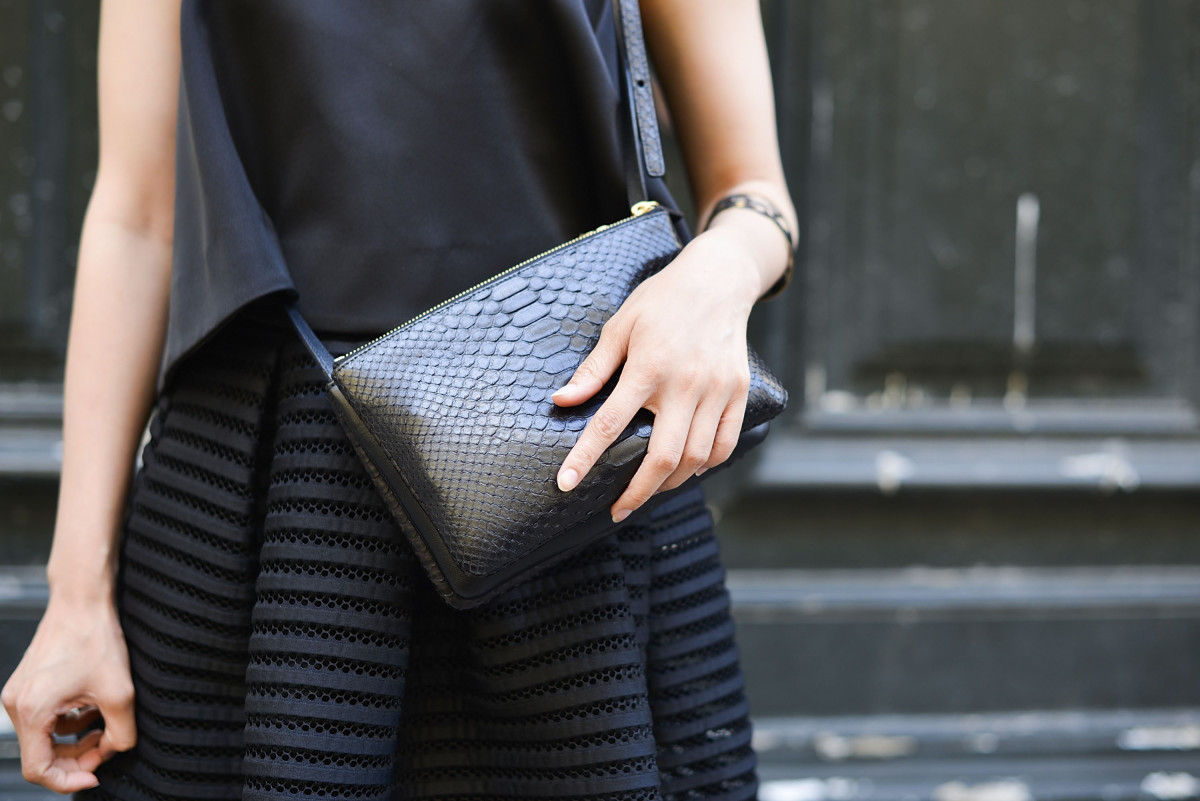 A Maje skirt on the streets of Paris. Photo: Vanni Bassetti/Getty Images