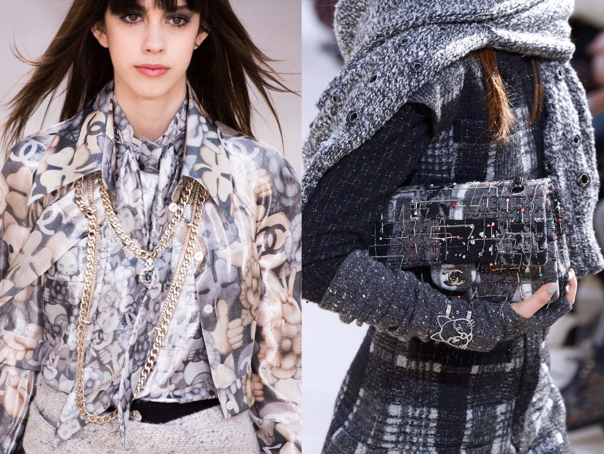 Cats spotted on a blouse, left, and bracelet, right at Chanel's fall 2016 presentation. Photos: Imaxtree