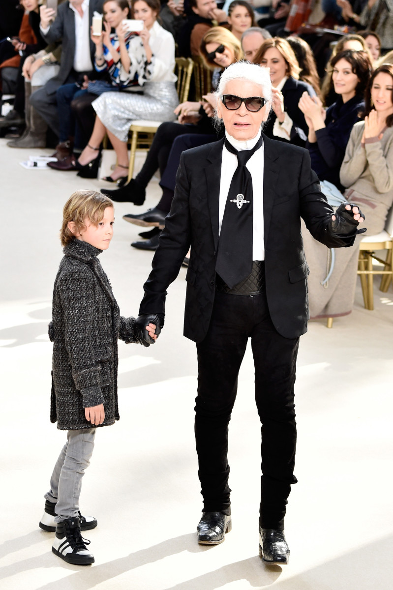 Karl Lagerfeld at Chanel's fall 2016 show. Photo: Pascal Le Segretain/Getty Images