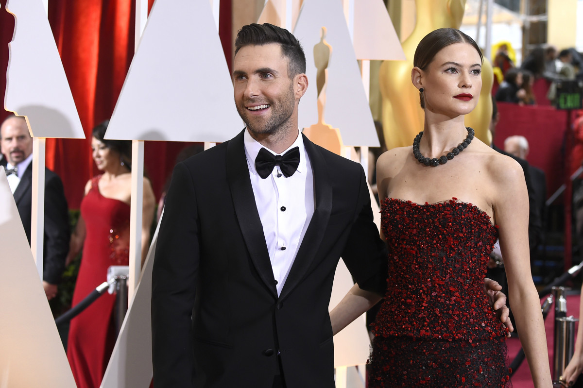Behati Prinsloo and Adam Levine at the 2015 Academy Awards. Photo: Frazer Harrison/Getty Images