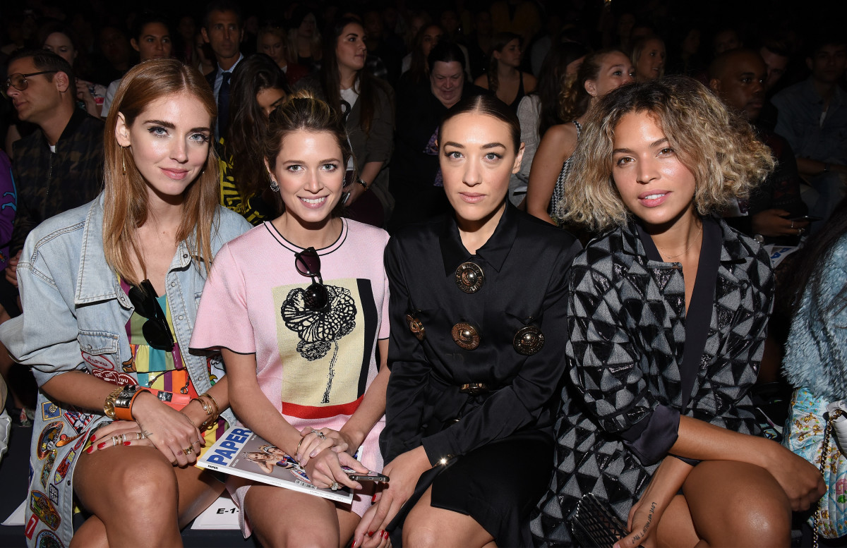 Chiara Ferragni, Helena Bordon, Mia Moretti and Cleo Wade at Jeremy Scott's New York Fashion Week show in September. Photo: Vivien Killilea/Getty Images