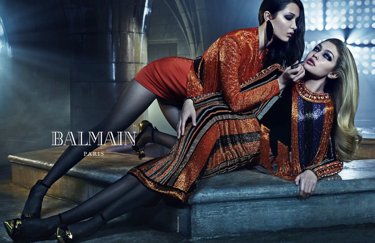 Bella and Gigi Hadid in the fall 2015 Balmain ad campaign. Photo: Mario Sorrenti