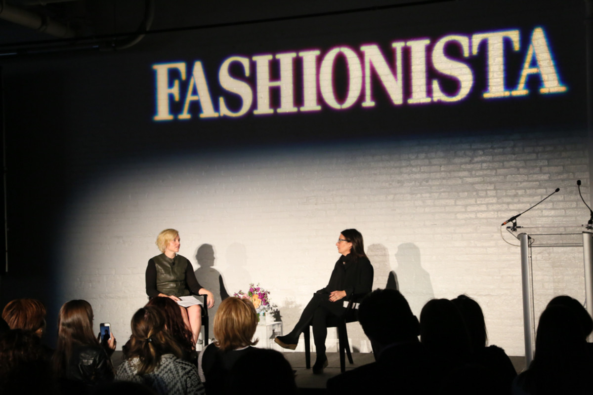 Here's me grilling Bobbi Brown at FashionistaCon. (Not really. I was nice.) Photo: Fashionista