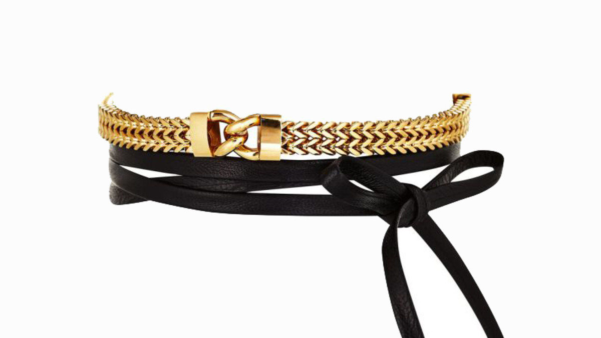 Fallon Armure Link Front Leather Wrap Choker in Gold, $285, available at FallonJewelry.com.