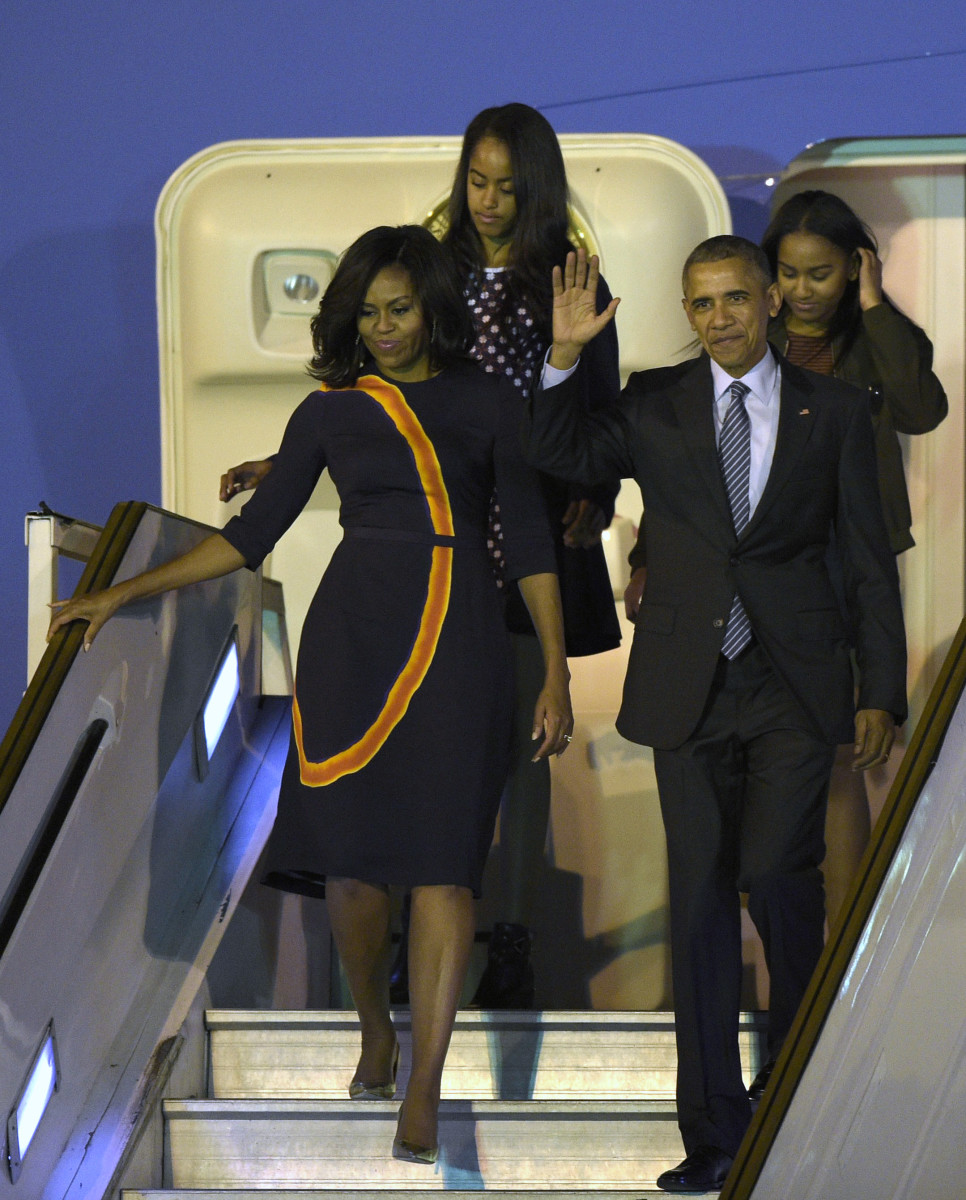 Michelle Obama in Narciso Rodriguez at Ministro Pistarini International Airport in Ezeiza, Argentina on Wednesday. Photo: Juan Mabromata/AFP/Getty Images