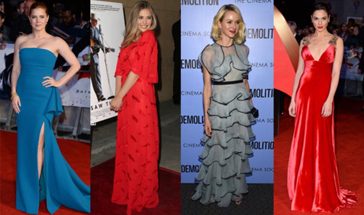 From left to right: Amy Adams. Photo: Jeff Spicer; Elizabeth Olsen. Photo: Frederick M. Brown; Naomi Watts. Photo: Dimitrios Kambouris; Gal Gadot. Photo: Jeff Spicer/Getty Images