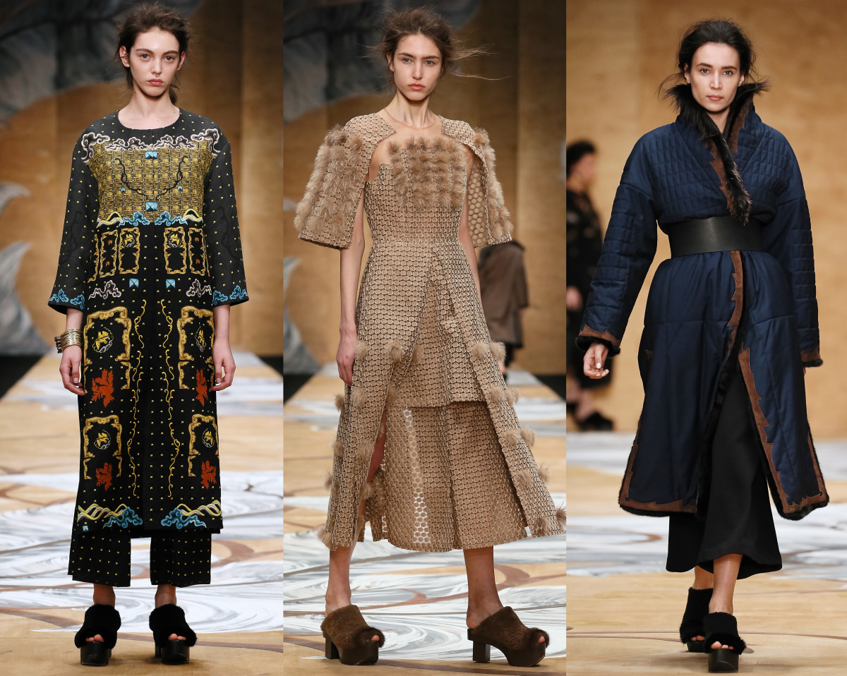 Alena Akhmadullina's fall collection was inspired by Tibetan, Mongolian and Buryat mythology. Photo: Mercedes Benz Fashion Week Russia