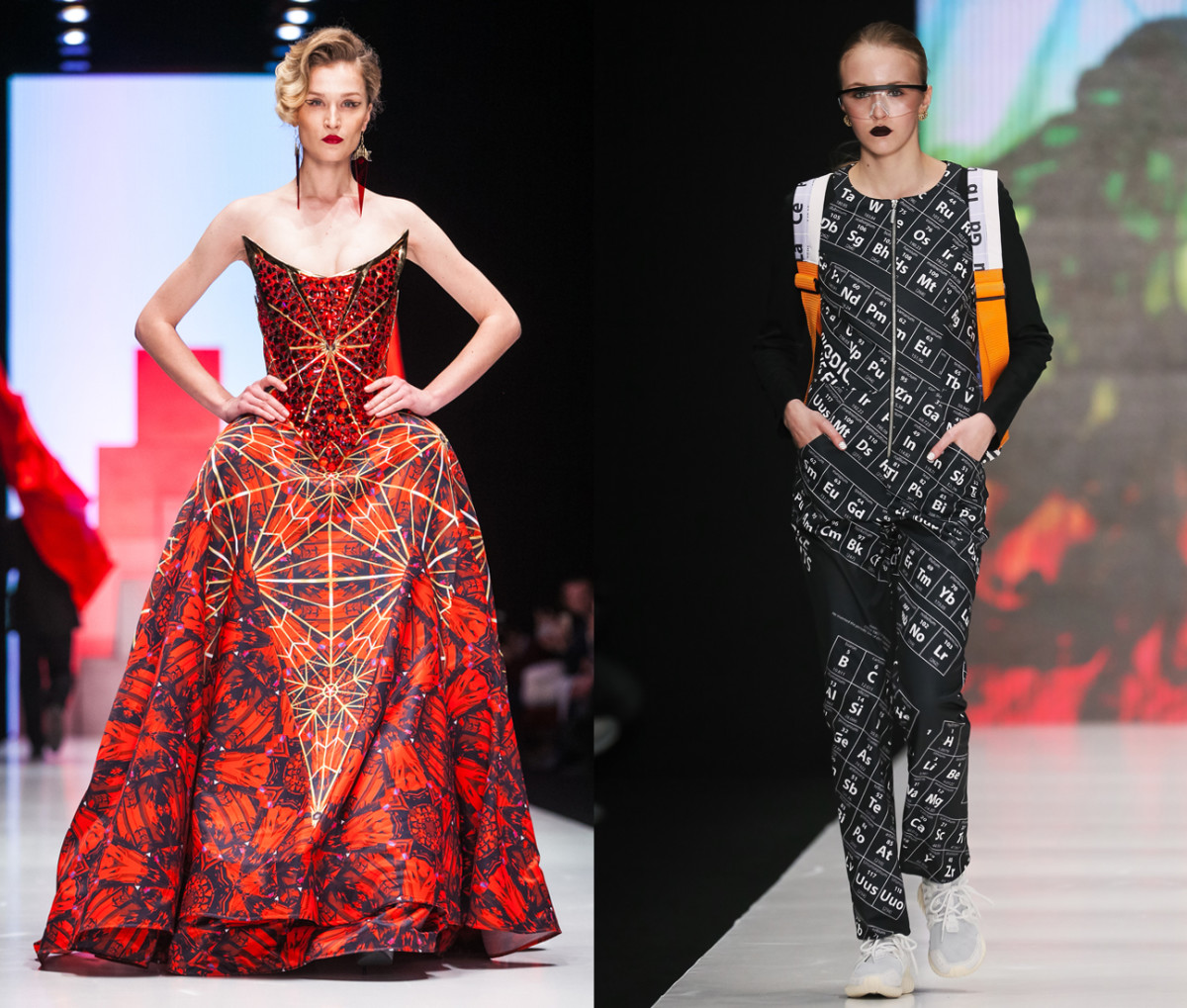 Left: A Dimaneu gown covered in iconic Kremlin stars. Right: Dasha Gauser designer her fall collection around fellow Russian Dmitri Mendeleev's periodic table of elements. Photos: Mercedes Benz Fashion Week Russia